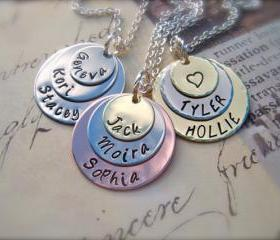PERFECT Gift For HER - Custom Tri-Color Personalized Pendant - A Mother's LOVE - Necklace
