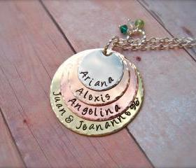 FOUR Disc Personalized Stacked Pendant Necklace