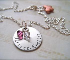 Hand Stamped Custom Personalized Pendant - Mommy of TWO - Necklace