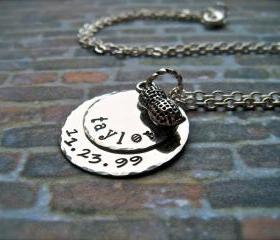 PEANUT - Custom Single Name and Birthdate Hand Stamped Personalized Pendant Necklace