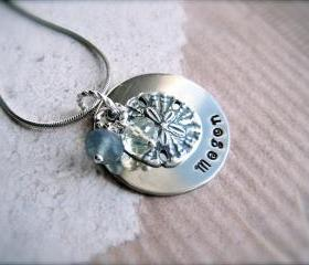 BEACH LOVER Hand Stamped Personalized Pendant Necklace