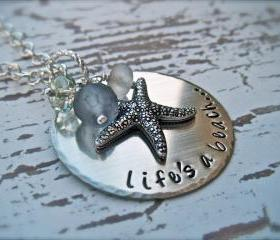 Hand Stamped Personalized Pendant - LIFE'S A BEACH - Necklace