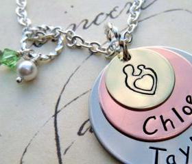 Mother's Day - EXCLUSIVE - Tri-Color Personalized Pendant Necklace - For MOMMY - as Featured in Bead Trend Magazine