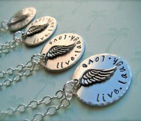LIVE LAUGH LOVE - Hand Stamped Personalized Pendant Necklace